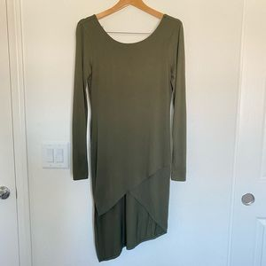 Long sleeve, high low dress.